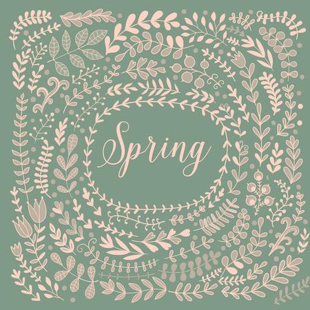 spring leaf: Vector decorative frames and leaf. Spring elements. Floral doodles wheath.