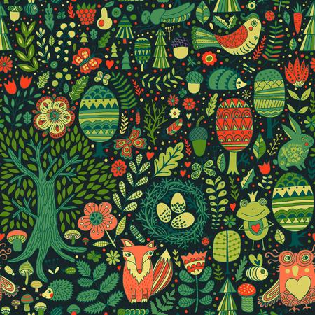animales del bosque: dise�o del bosque del vector, sin fisuras patr�n floral con los animales del bosque rana, zorro, b�ho, conejo, erizo. vector de fondo con mariposas, insectos, abejas, �rboles y flores en estilo infantil.
