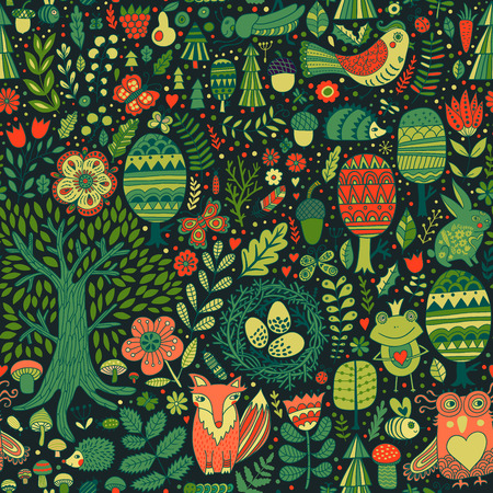 Vector forest design, floral seamless pattern with forest animals:  frog, fox, owl, rabbit, hedgehog. Vector background with butterflies,bugs, bees, trees and flowers in childish style. Vettoriali