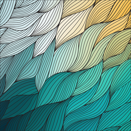 hair feathers: Vector abstract hand-drawn waves texture, wavy background. Colorful waves backdrop