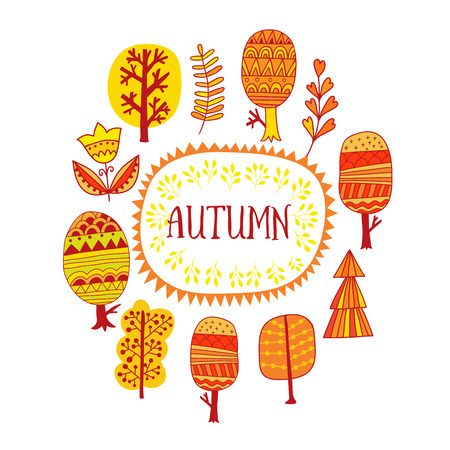 fur tree ornament: Autumn trees design, frame illustration, seasonal decor