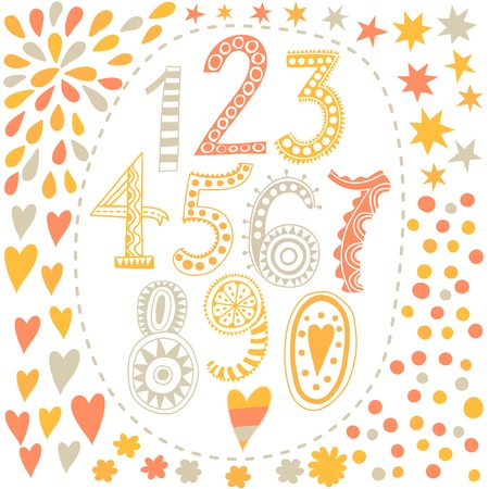 Whimsical hand drawn numbers, from one to zero. Hand-drawn numbers. Vector sketch illustration isolated on white background.