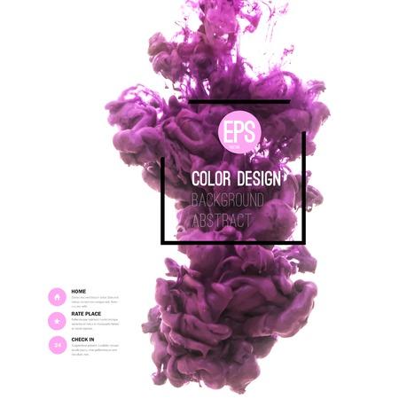 purple: Vector resumen nube. Remolino de la tinta en agua, nube de la tinta en el agua aislado en blanco. Pinturas de banners abstractas. Holi. Tinta l�quida. Fondo para la bandera, tarjeta, cartel, cartel, identidad, design.Juice web. Vectores