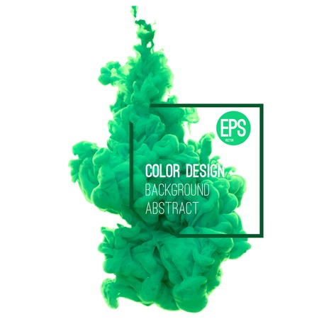 green ink: Vector abstract cloud. Ink swirling in water, cloud of ink in water isolated on white. Abstract banner paints. Holi. Liquid ink. Background for banner, card, poster, poster, identity,web design.Juice.