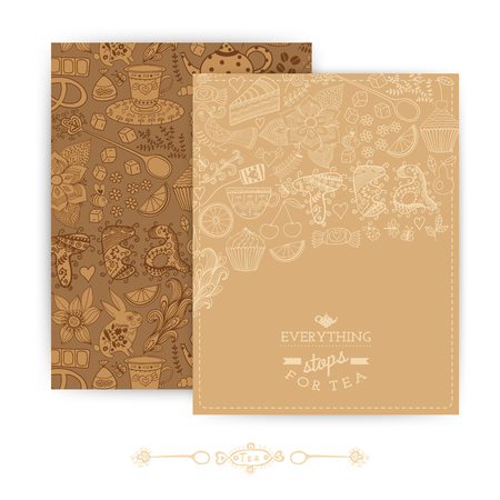 theme: Tea Branding Design. Coffee and Tea design set cards. Sweet pattern. Coffee, tea, background, brand. Tea label, packing. Banner. Greeting floral card. Invitation. Tea,sweets seamless doodle pattern Illustration