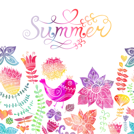 watercolour background: Vector watercolor floral greeting card with Summer lettering. Vintage retro background with floral ornament You can design cards, notebook cover and so on. Spring theme background