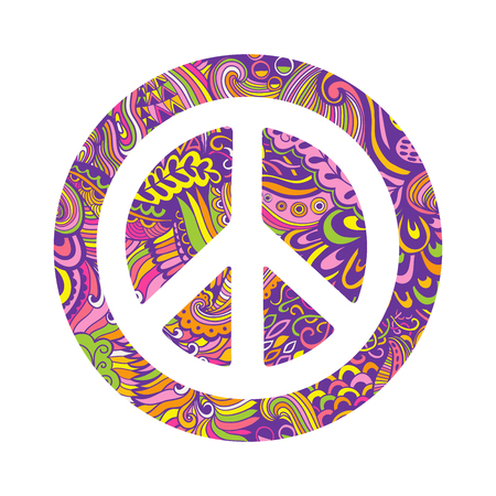 Vector pacifism sign. Hippie style ornamental background. Love and peace, hand-drawn doodle background and textures. Colorful peace symbol on white background. Retro 1960s, 60s, 70s.