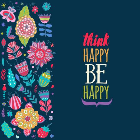 donna farfalla: Floral card design, i fiori e gli elementi foglia di doodle. Illustrazione di fiori ed erbe. Vector invito decorativo. elementi a molla. scarabocchi floreali. Pensa positivo Sii felice