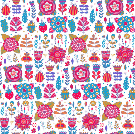 retro cartoon: Vector floral pattern design, seamless pattern with flowers, plants and bugs. Vector background with butterflies, bugs, trees and flowers in childish style
