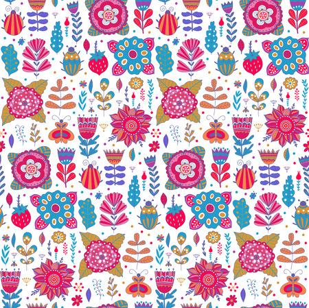 donna farfalla: Vector motivo floreale disegno, seamless con fiori, piante e insetti. Vector background con farfalle, insetti, alberi e fiori in stile infantile Vettoriali