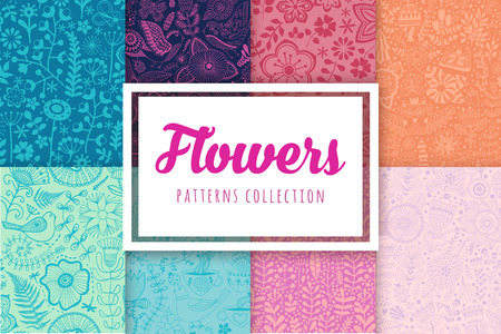bride cartoon: Set of eight colorful floral patterns seamlessly tiling.Seamless pattern can be used for wallpaper, pattern fills, web page background,surface textures. Floral seamless backgrounds combo.