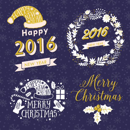 adorning: Merry Christmas And Happy New Year Calligraphic labels, letters elements. Christmas set labels, emblems and other decoration
