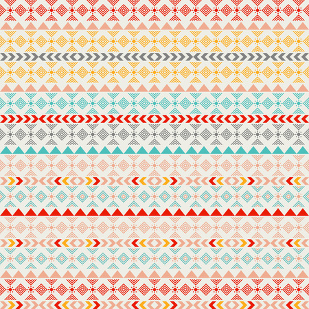 Seamless vector tribal texture. Tribal seamless texture. Vintage ethnic seamless backdrop. Boho stripes. Striped vintage boho fashion style pattern background with tribal shape elements