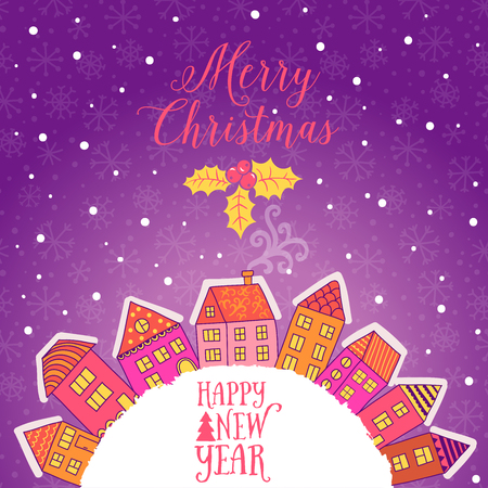 christmas party: Vector  Christmas greeting card with houses placed around the half of planet, set of cute vector houses, winter theme. Christmas postcard.