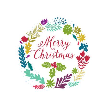 coronas de navidad: Vector circular coronas florales con flores de verano y copyspace blanco central de su texto. Vector dibujado a mano dibujo de la guirnalda con flores. diseño de Feliz Navidad Foto de archivo