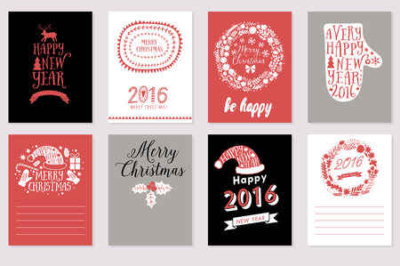 wish list: Collection of 8 Christmas cards. Merry Christmas, Happy New Year labels. Vector illustration template for greeting scrapbooking, congratulations, invitations. Design set for winter holidays . Illustration