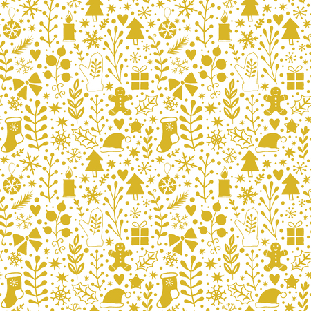 adorning: Merry Christmas seamless pattern, Happy New Year background, wrapping paper texture, silhouette.Classic elements Christmas pattern winter background. Holidays icons.