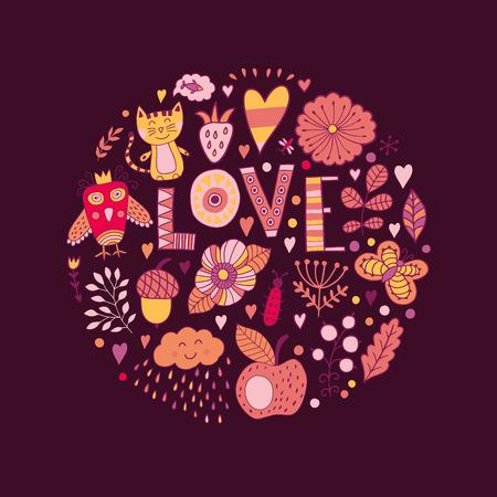 oiseau dessin: Cercle floral avec des lettrages d'amour et des fleurs de griffonnages. Emblème de forme ronde en fleurs. Doodles élément. Cartes de jour de Valentin, griffonnages d'animaux et de fleurs Illustration
