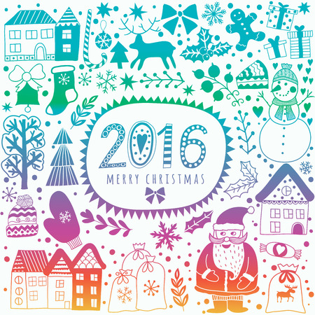 christmas winter: Christmas greeting card template, vector Merry Christmas. Winter holiday design, frame wreath design made of childish doodles: Santa, houses, deer, winter forest, mittens, snowman. Illustration