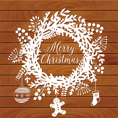 leaf illustration: Christmas wreath made of leaf and flower on table top, winter  door decoration, white paper and wood background. Greeting card template, wreath and place for your text. Vector Illustration