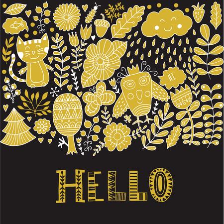 hello heart: Hello lettering illustration card, cure childish design: flower doodles, cat and owl Illustration