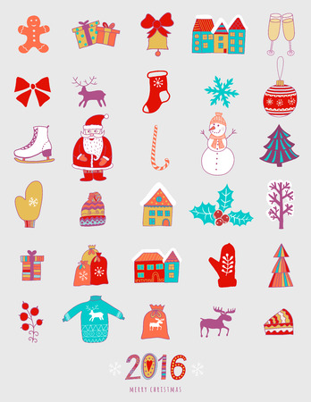 adorning: Christmas doodles elements in childish doodle style. Winter icons for holidays design: Santa, houses, cake, lettering sign 2016, winter clothes.