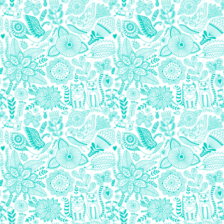 botanic: Vector flower pattern. Seamless botanic texture, detailed flowers illustrations. All elements are not cropped and hidden under mask. Floral pattern in doodle style, spring floral background