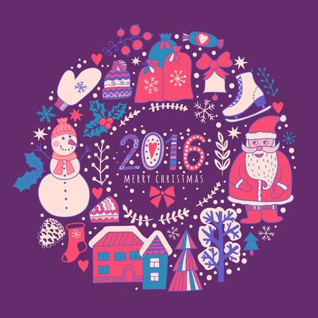 Vector circular wreath christmas greeting card template merry stock photo vector circular wreath christmas greeting card template merry christmas winter holiday design frame wreath design made of childish m4hsunfo