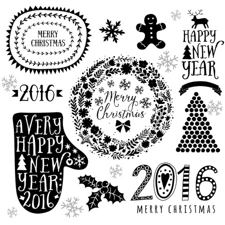 adorning: Merry Christmas And Happy New Year Calligraphic, mitten, wreath, frames, 2016 handmade sign. Christmas set - labels, emblems and other decorative elements