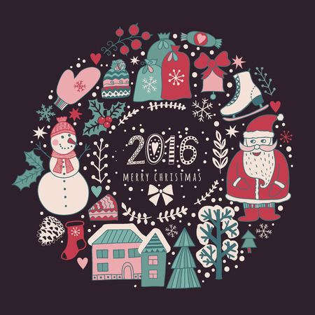 Vector circular wreath christmas greeting card template merry stock photo vector circular wreath christmas greeting card template merry christmas winter holiday design frame wreath design made of childish m4hsunfo Gallery