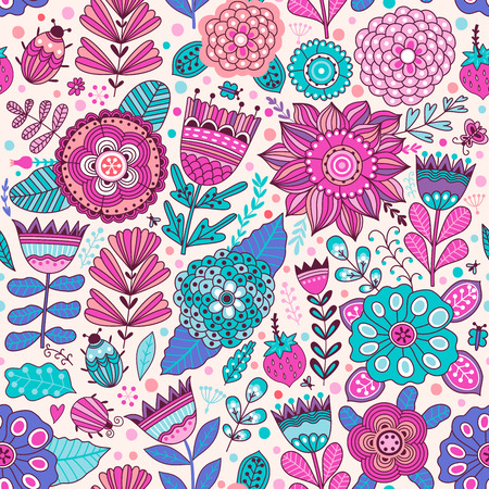 Vector flower pattern. Seamless botanic texture, detailed flowers illustrations. All elements are not cropped and hidden under mask. Floral pattern in doodle style, spring floral background