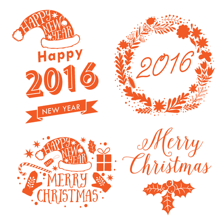 adorning: Merry Christmas And Happy New Year Calligraphic labels, letters elements. Christmas set labels, emblems and other decorations