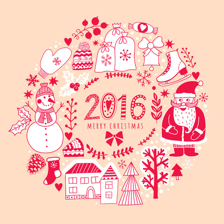 winter forest: Vector circular wreath, Christmas greeting card template, Merry Christmas. Winter holiday design, frame wreath design made of childish doodles: Santa, houses, deer, winter forest, mittens, snowman.