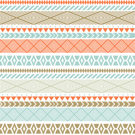 Seamless vector tribal texture. Tribal seamless texture. Vintage ethnic seamless backdrop. Boho stripes. Striped vintage boho fashion style pattern background with tribal shape elements 免版税图像 - 49960272