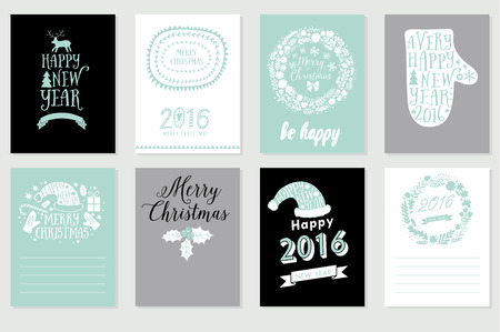 felicitaciones: Colección de 8 tarjetas de Navidad. Feliz Navidad, Feliz Año Nuevo etiquetas. Vector la ilustración del modelo de álbum de recortes para el saludo, felicitaciones, invitaciones. Diseño determinado para las vacaciones de invierno. Vectores