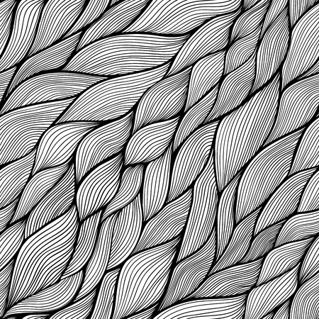 waves pattern: Black and white vector seamless abstract hand-drawn pattern. Wave patterns seamlessly tiling. Hand drawn seamless wave background Stock Photo