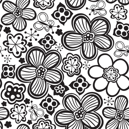 cropped: Vector flower pattern. Black and white seamless botanic texture, detailed flowers illustrations. All elements are not cropped and hidden under mask. Doodle style, spring floral background