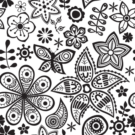 botanic: Vector flower pattern. Black and white seamless botanic texture, detailed flowers illustrations. All elements are not cropped and hidden under mask. Doodle style, spring floral background