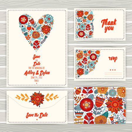 marriage invitation: Wedding Invitation Template: invitation, envelope, thank you card, save the date cards. Wedding set. RSVP card. Marriage event. Valentine, seamless pattern is masked and complete