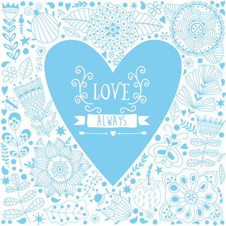 love cartoon: Valentine vector template greeting card.