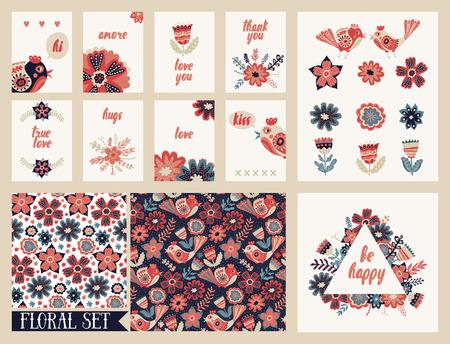 flower  hand: Hand drawn vintage floral elements collection. Patterns set. Freehand folk colorful illustration