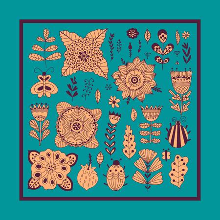 donna farfalla: Floral card design, i fiori e gli elementi foglia di doodle.