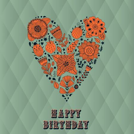 donna farfalla: Cuore floreale. Vector cuore fatto di fiori. Doodle Cuore. carta di San Valentino, erbe e fiori scarabocchi Vettoriali