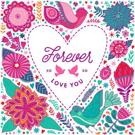 花ハートのフレームは花から成っています。落書き中心。バレンタインの日カード、ハーブおよび花の落書き。バレンタインの s 日テンプレート グ