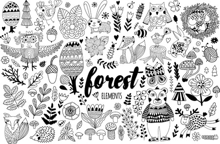 stick bug: Vector forest elements in doodle childish style, handdrawn animals and insects, trees and plants. Illustration