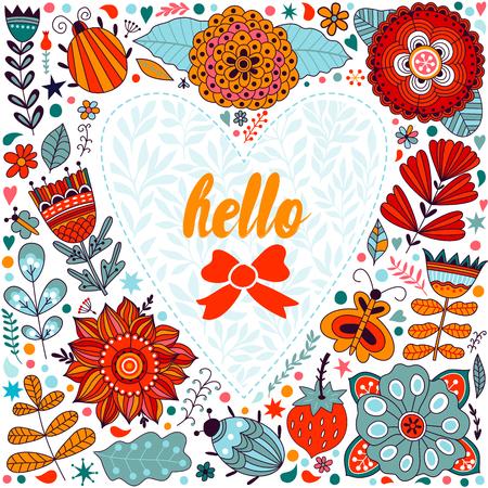 femme papillon: Valentine card mod�le de voeux. Fleurs en forme de coeur. Coeur fait de fleurs. Heart Doodle. Valentines day card. Illustration
