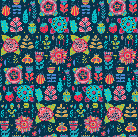 pistil: Vector floral pattern design, seamless pattern with flowers, plants and bugs. Vector background with butterflies, bugs, trees and flowers in childish style