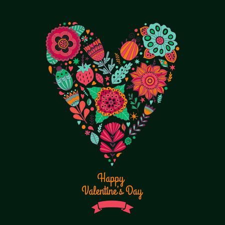 femme papillon: coeur floral. Coeur fait de fleurs. Heart Doodle. Valentines day card, herbes et fleurs doodles