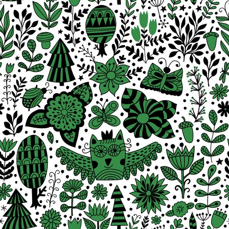 owl illustration: Vector forest design, floral seamless pattern with forest, flowers, owl, trees. Vector background with butterflies, bugs, trees and flowers in childish style