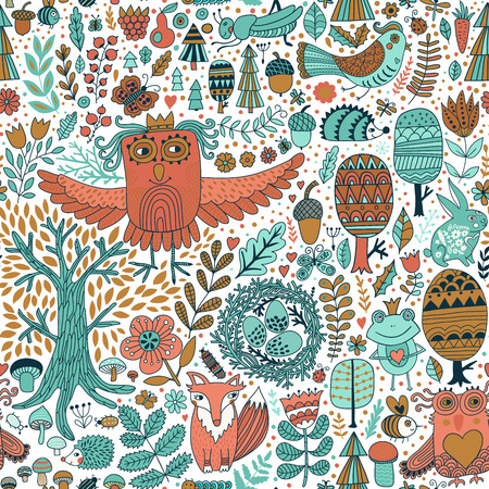 Vector forest design, floral seamless pattern with forest animals. Vector background with butterflies,bugs, bees, trees and flowers in childish style. Illustration